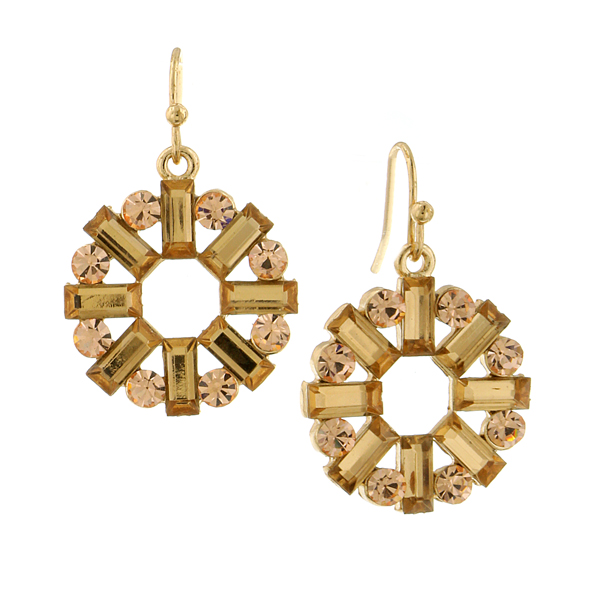 Gold-Tone Light Brown Crystal Baguette Round Drop Earrings