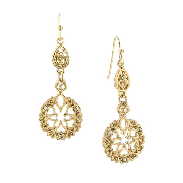 2028 Tailored Gold-Tone Filigree Drop Earrings