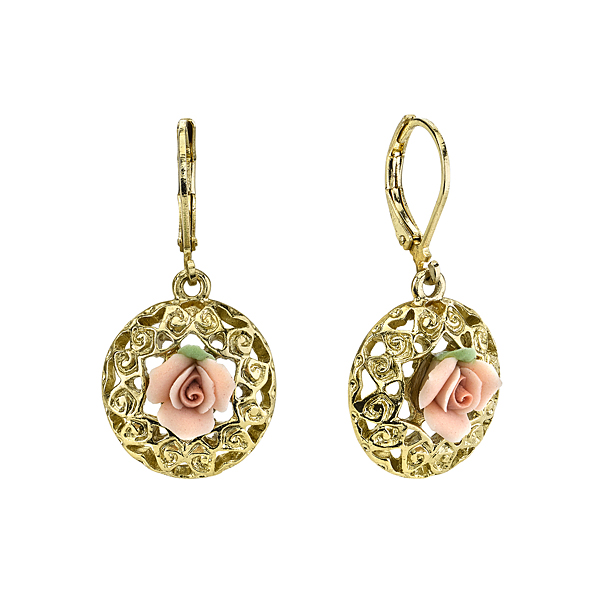 Gold-Tone Pink Porcelain Rose Round Filigree Drop Earrings