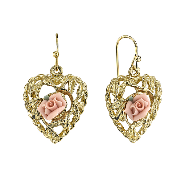 Gold-Tone Pink Porcelain Rose Heart Drop Earrings