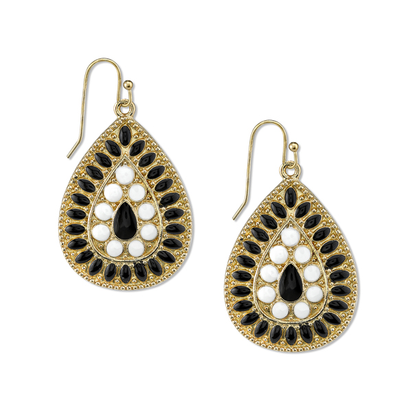 2028 Gold-Tone Black and White Enamel Pear-Shaped Drop Earrings