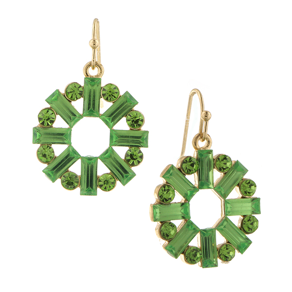 2028 Gold-Tone Green Round Drop Earrings