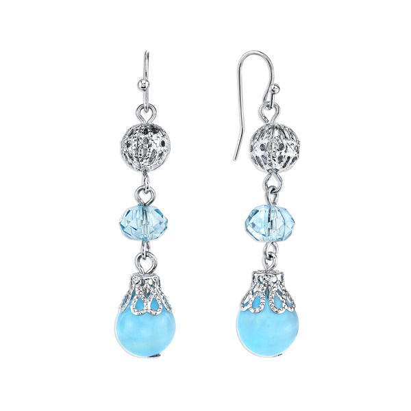 Silver-Tone Aqua Blue Beaded Linear Drop Earrings