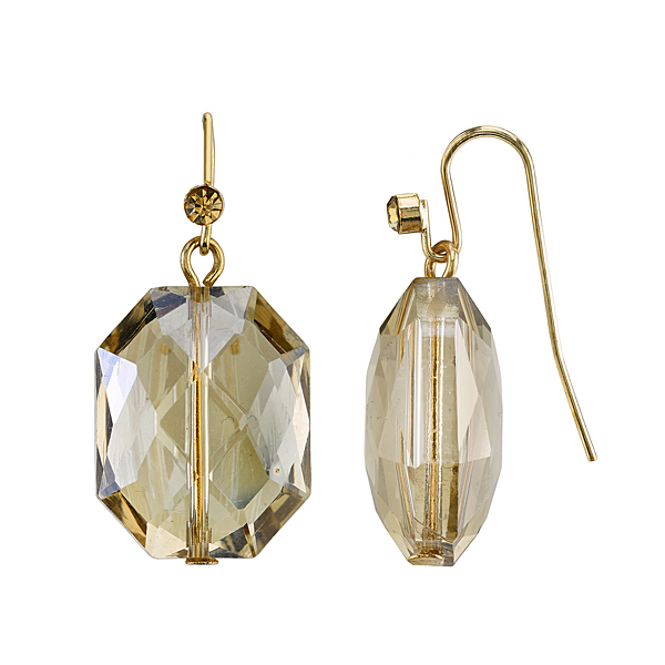 2028 Sparkle Illuminations Gold-Tone Faceted Light Topaz-Colored Bead Drop Earrings