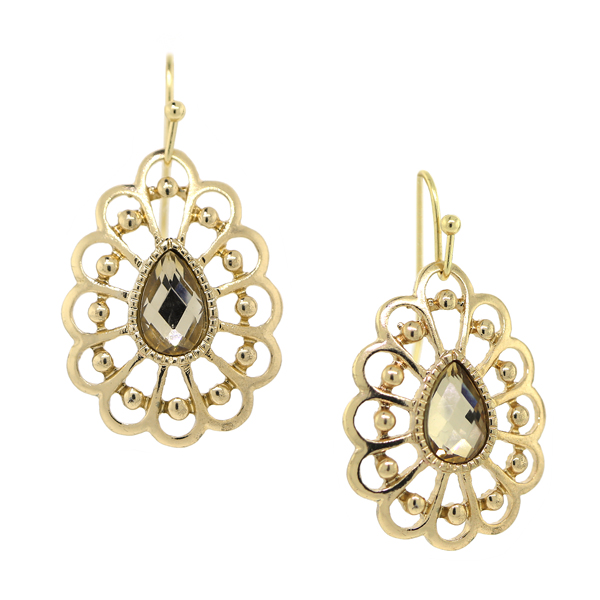 Summer Gold-Tone Light Brown Filigree Pear-Shaped Drop Earrings