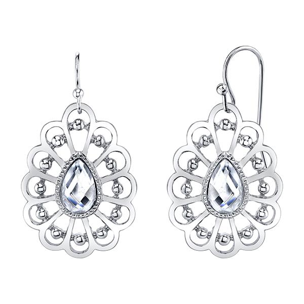Summer Silver-Tone Crystal Filigree Pear-Shaped Drop Earrings