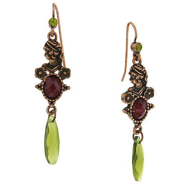 Burnished Copper-Tone Silhouette Green and Purple Drop Earrings