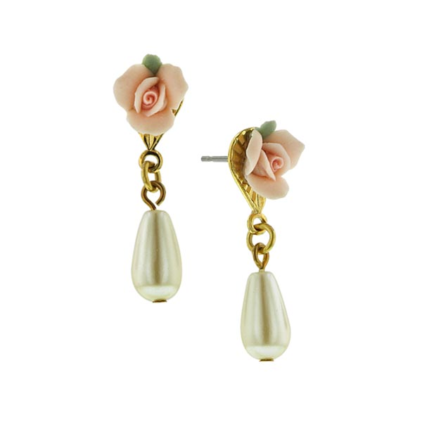 Porcelain Rose Pearl Drop Earrings
