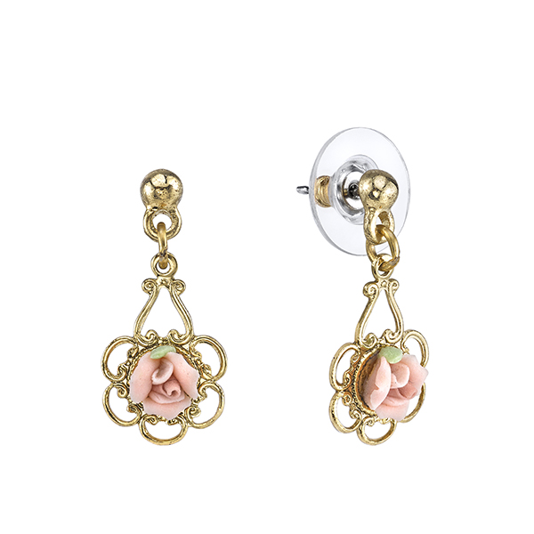 Gold-Tone Pink Porcelain Rose Drop Earrings