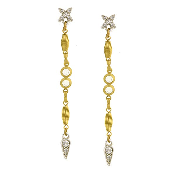 Antiquities Couture Art Deco Spiral Linear Drop Earrings