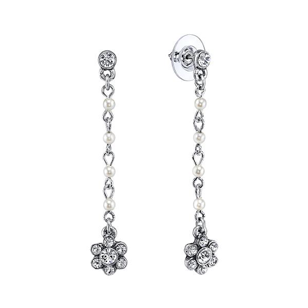 Bridal Crystal Flower Linear Earrings