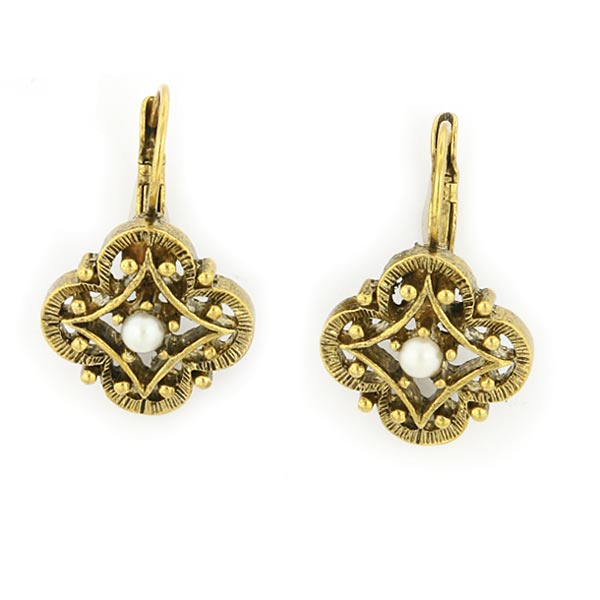 Antiquities Couture 1950s Pearl Clover Drop Earrings