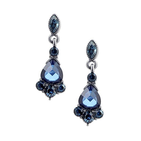 Victorian-Inspired Jet-Tone Blue Crystal Drop Earrings