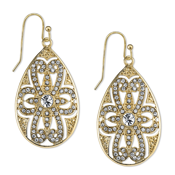 2028 Spring Tailored Gold-Tone Crystal Pear-Shaped Drop Earrings