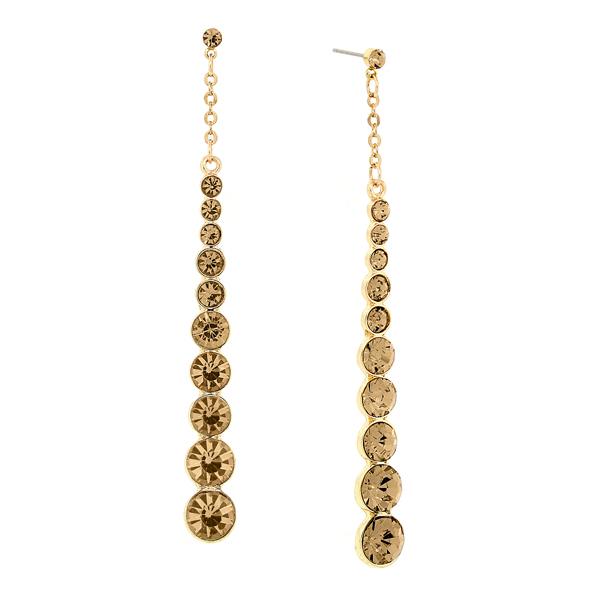 2028 Gold-Tone Light Brown Crystal Long Linear Earrings