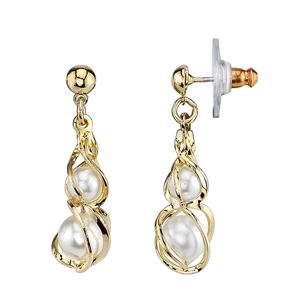 Gold-Tone Faux Pearl Twisted Drop Earrings