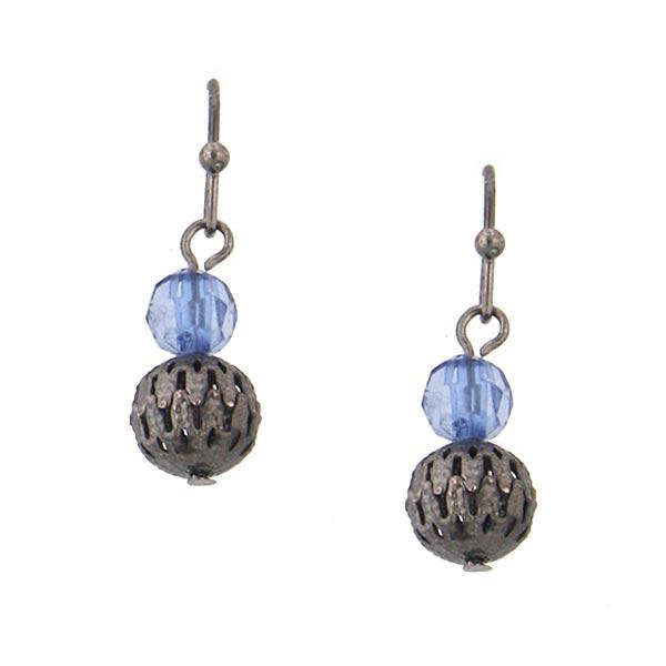 Blue Bead Ball Drop Earrings