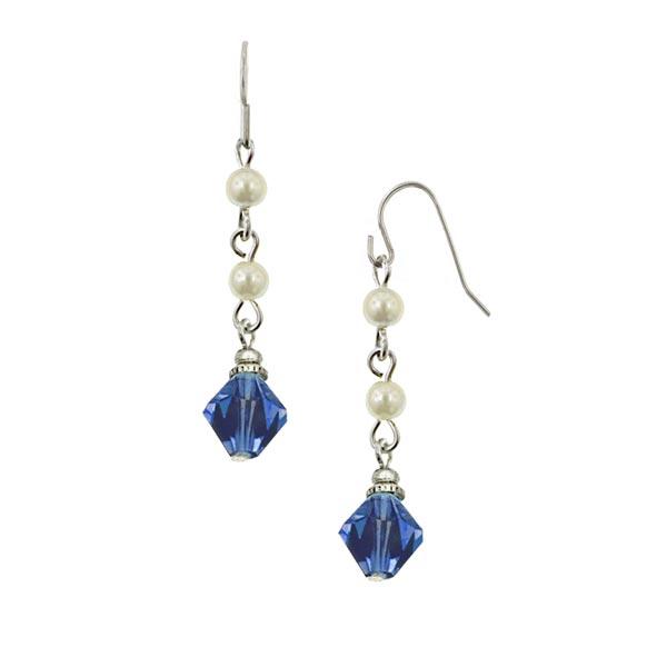 Sapphire and Pearl Bead Drop Earrings
