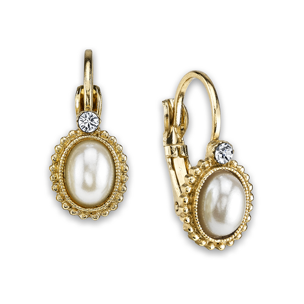 2028 Gold-Tone Faux Pearl Crystal Accented Earrings