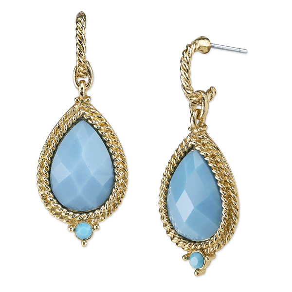 2028 Sorrento Gold-Tone Imitation Turquoise Pear-Shaped Drop Earrings