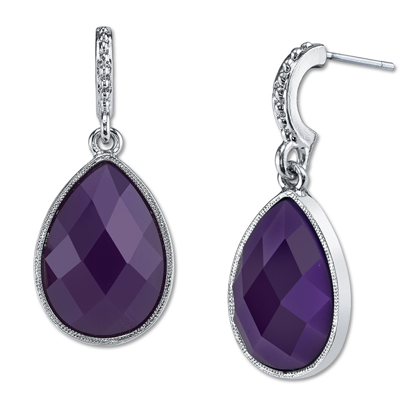 Domenica Silver-Tone Purple Pear-Shaped Drop Earrings