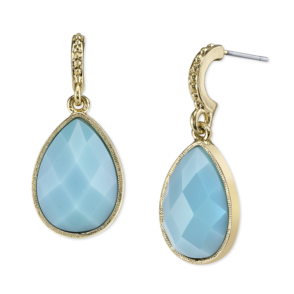 Domenica Gold-Tone Imitation Turquoise Pear-Shaped Drop Earrings
