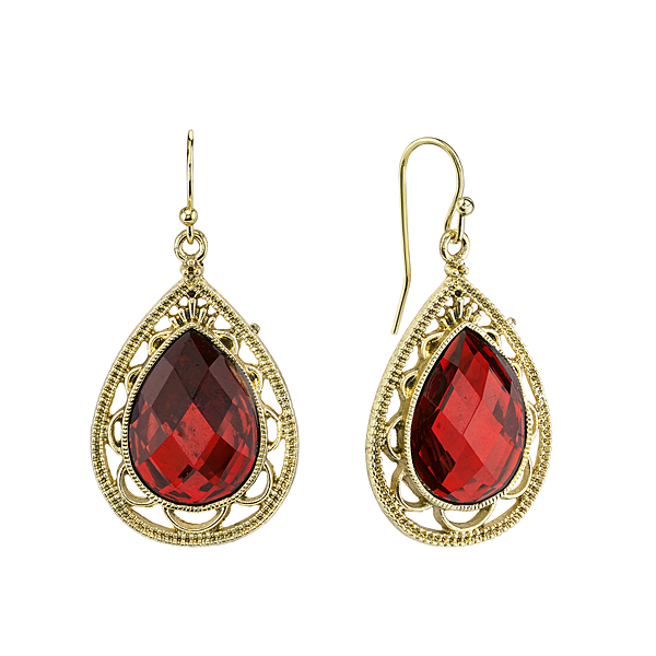 Cyprus Gold-Tone Red Pear-Shaped Drop Earrings