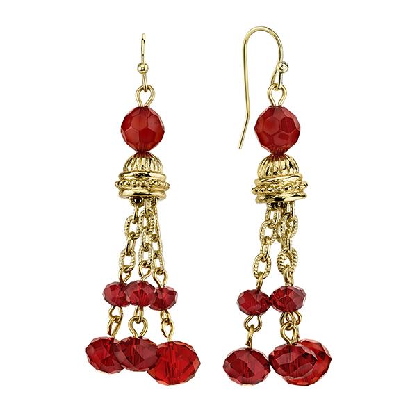 Cyprus Gold-Tone Red Tassel Drop Earrings