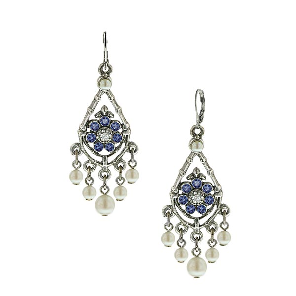 Sapphire Flower & Pearl Chandelier Earrings