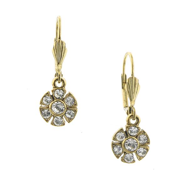 Alex Nicole® Brass-Tone Crystal Flower Drop Earrings