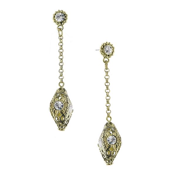 Alex Nicole® Brass-Tone Crystal Drop Linear Earrings