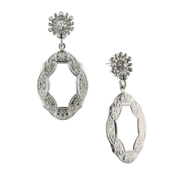 Alex Nicole® De Luca Silver-Tone Frame Antique Drop Earrings