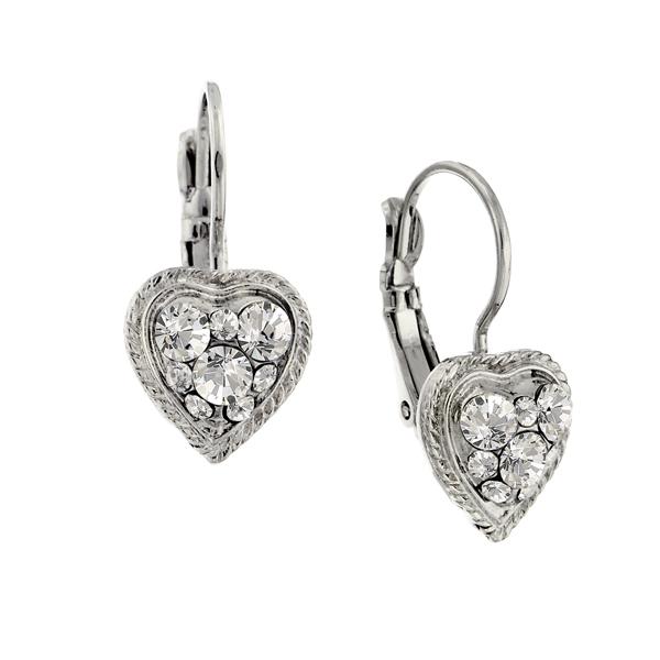 Alex Nicole® Heirlooms Silver-Tone Heart Crystal Earrings