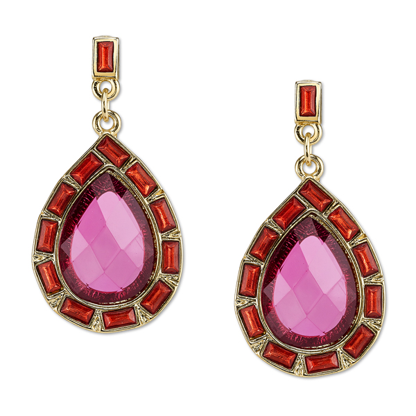 2028 Sunset Gold-Tone Fuchsia Pear-Shaped Drop Earrings