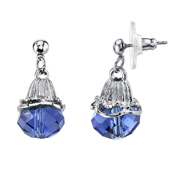Tuileries Silver-Tone Blue Bead Drop Earrings