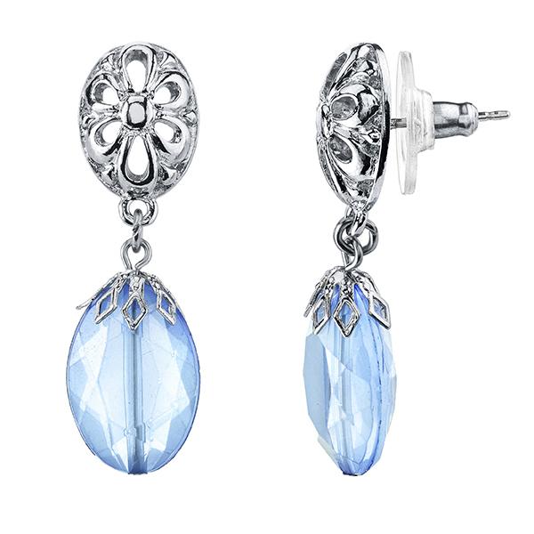 Tuileries Silver-Tone Blue Filigree Accent Drop Earrings
