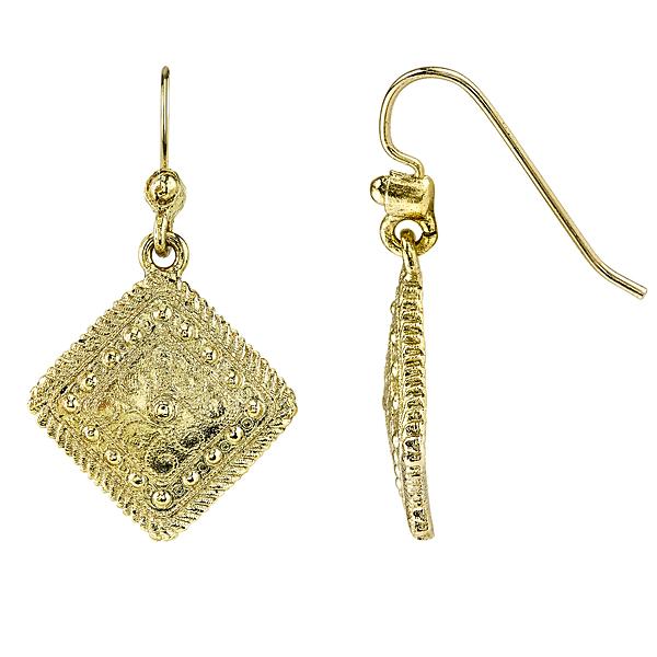 Golden Summer Gold-Tone Diamond-Shaped Drop Earrings