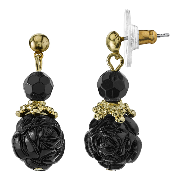 Le Marais Florals Gold-Tone Black Drop Earrings
