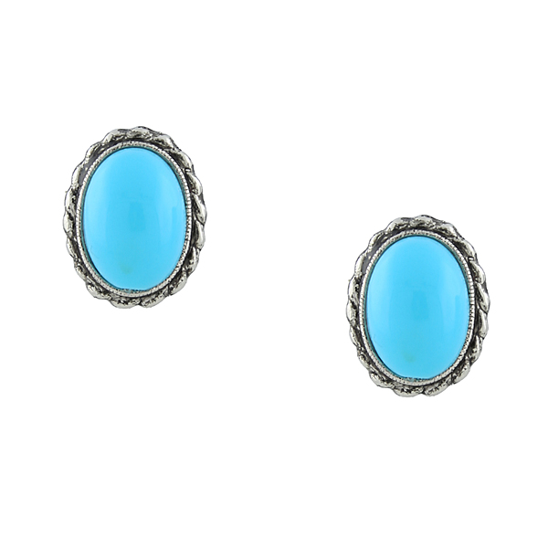 2028 Palm Beach Silver-Tone Imitation Turquoise Oval Button Earrings