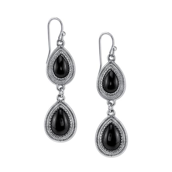 2028 Gramercy Silver-Tone Black Double Pear-Shaped Drop Earrings