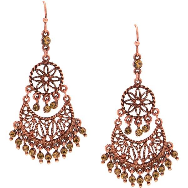 Burnished Copper Floral Medallion Chandelier Earrings