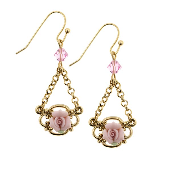 Porcelain Rose Petite Drop Earrings