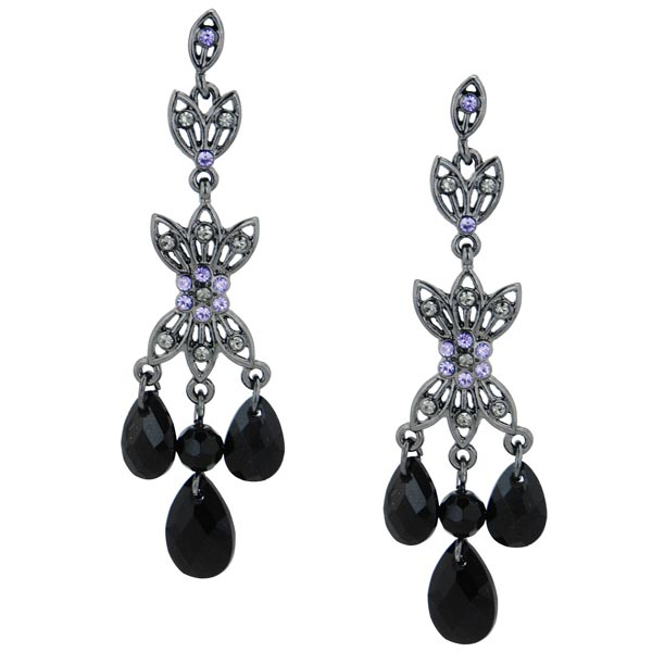 Sprinkling Crystals Black Dangle Earrings