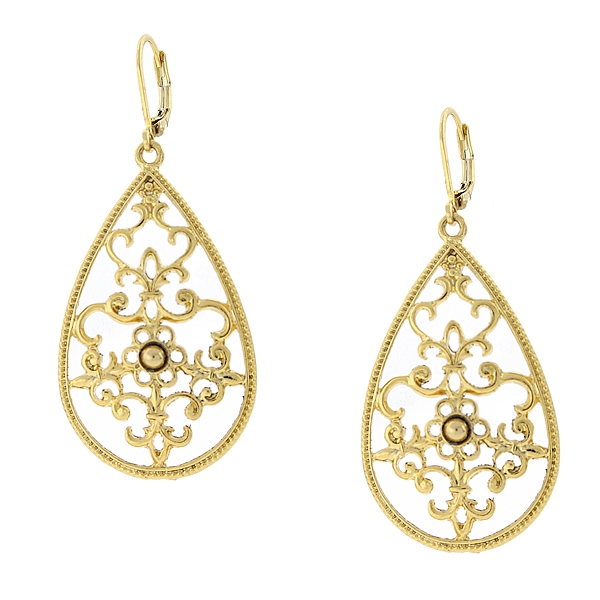 2028 Gold-Tone Filigree Pear-Shaped Drop Earrings