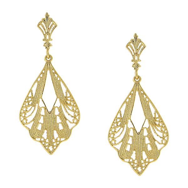 2028 Gold-Tone Filigree Drop Earrings