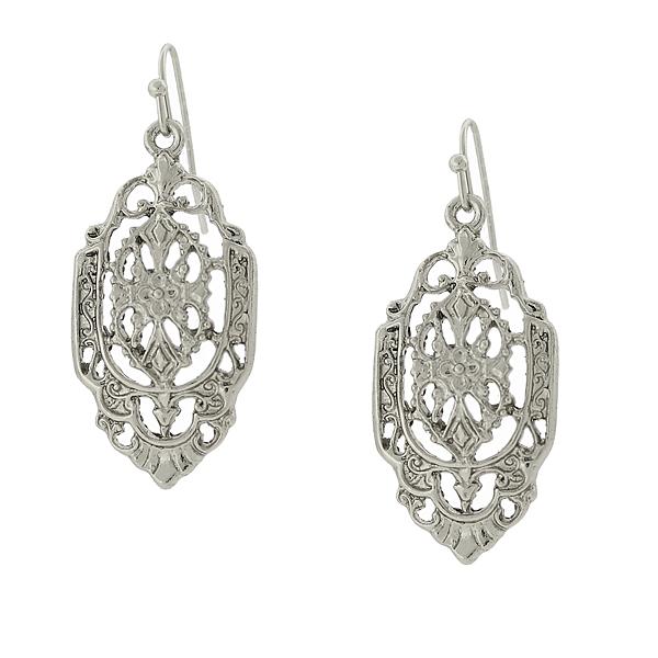 2028 Silver-Tone Vintage-Inspired Filigree Drop Earrings