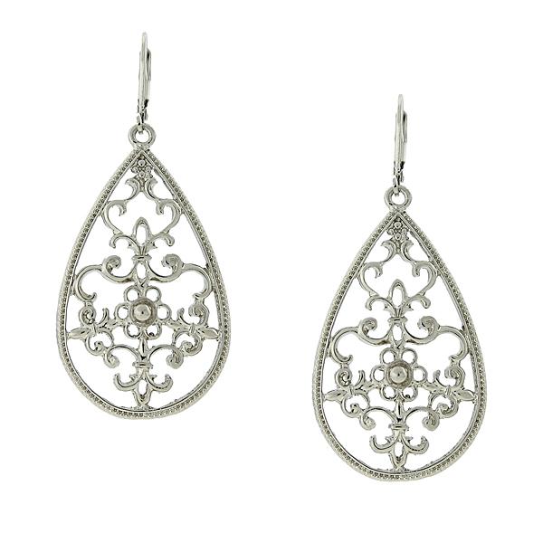 2028 Silver-Tone Filigree Pear-Shaped Drop Earrings