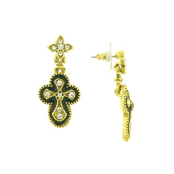 Black Enamel Flower Cross Drop Earrings