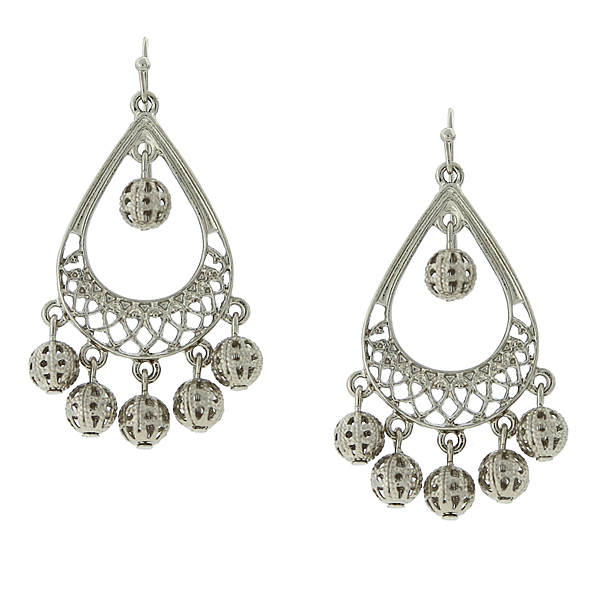 2028 Silver-Tone Pear-Shaped Filigree Statement Earrings