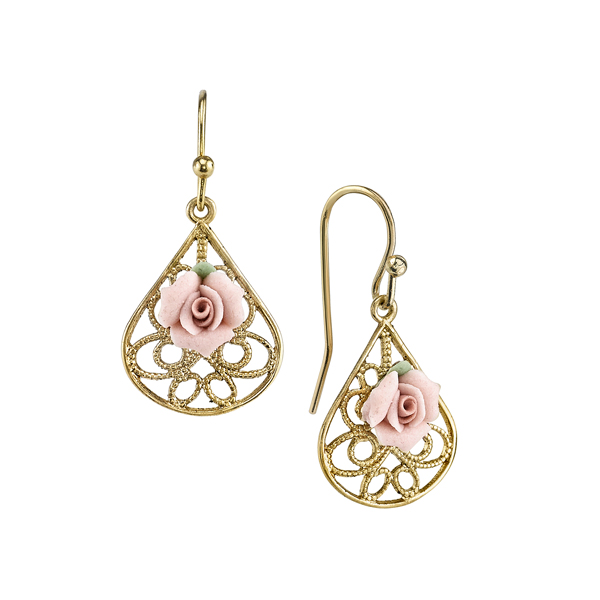 Gold-Tone Pink Porcelain Rose Filigree Pear-Shaped Drop Earrings